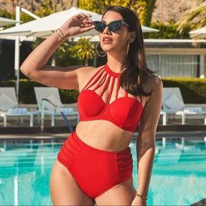 Adore Me Bikini Red 42DDD and 4x high rise bottoms